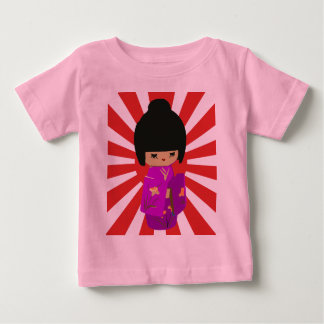 Cute Pink  Kokeshi Doll on rising sun Shirt