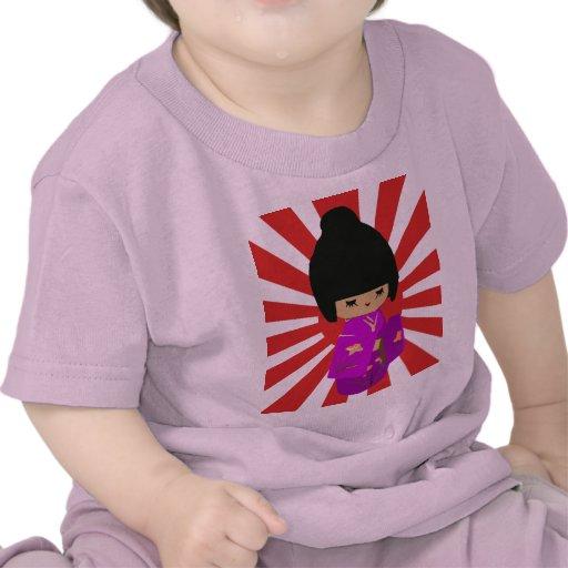 Cute Pink  Kokeshi Doll on rising sun Tee Shirts