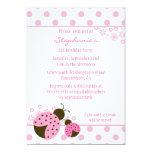 Cute pink lady bug girls birthday party invitation