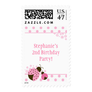Cute pink lady bug girls birthday party stamps