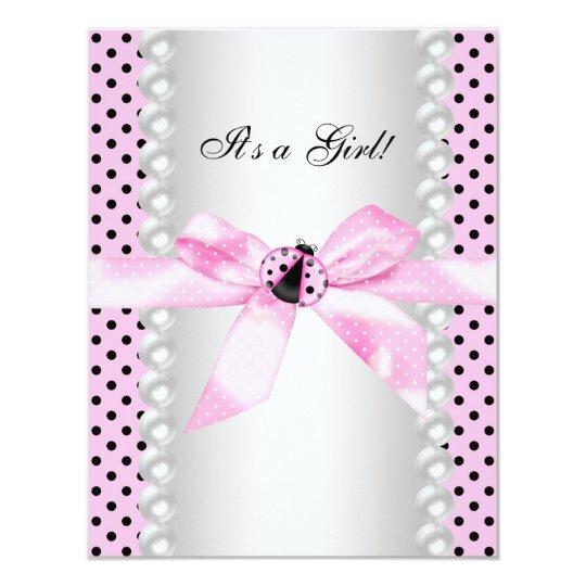 cute pink ladybug baby shower card zazzle
