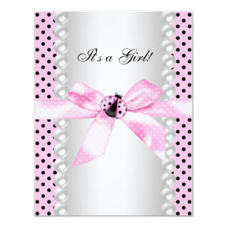 Cute Pink Ladybug Baby Shower 4.25x5.5 Paper Invitation Card