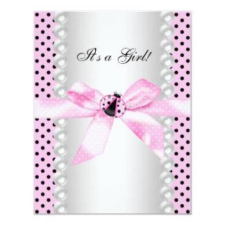 "Cute Pink Ladybug Baby Shower 4.25"" X 5.5"" Invitation Card"