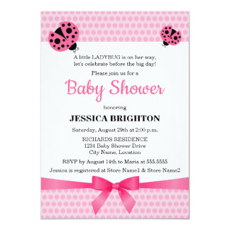 "Cute Pink Ladybug Baby Shower Invitations 5"" X 7"" Invitation Card"