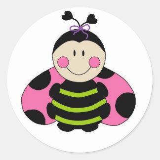 Cute Pink Ladybug Classic Round Sticker