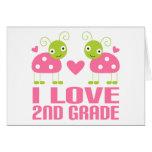 Cute Pink Ladybug I Love 2nd Grade Gift Greeting Card