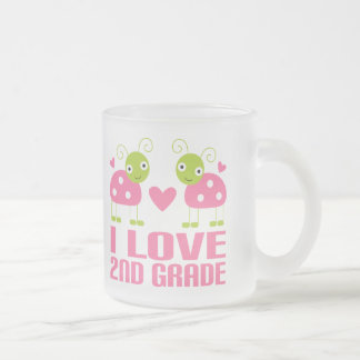Cute Pink Ladybug I Love 2nd Grade Gift Frosted Glass Coffee Mug