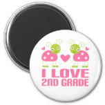 Cute Pink Ladybug I Love 2nd Grade Gift Fridge Magnet