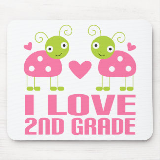 Cute Pink Ladybug I Love 2nd Grade Gift Mouse Pad