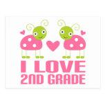 Cute Pink Ladybug I Love 2nd Grade Gift Post Card