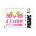 Cute Pink Ladybug I Love 2nd Grade Gift Stamp