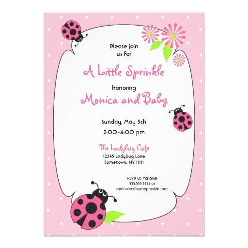 Cute Pink Ladybug Invitation