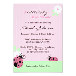 Ladybug baby shower invitations zazzle cute pink ladybug mint girl baby shower invites filmwisefo Image collections