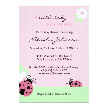 Toddler & Baby themed Cute Pink Ladybug Mint Girl Baby Shower Invites