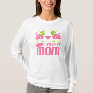 Cute Pink Ladybug on World's Best Mom Gift T-Shirt