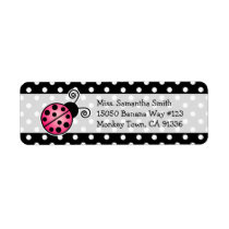 Cute Pink Ladybug Polka Dot Return Address Labels