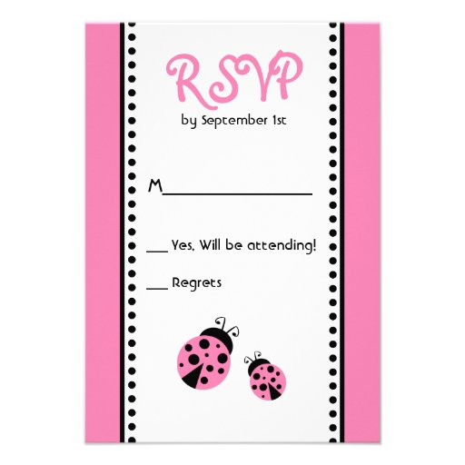 Cute Pink Ladybugs Birthday Party RSVP Card