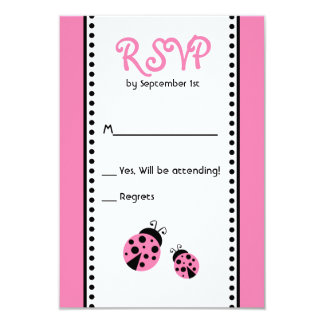 Cute Pink Ladybugs Birthday Party RSVP Card Custom Invites