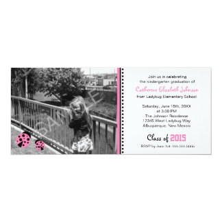 Cute Pink Ladybugs Graduation Party Invitation