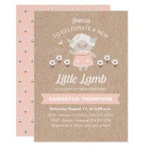 Cute Pink Lamb Baby Shower Invitation