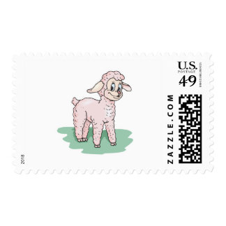 cute pink lamb postage stamps