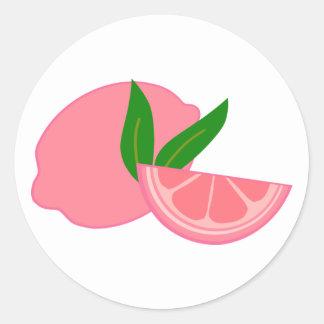 Cute Pink Lemon Classic Round Sticker