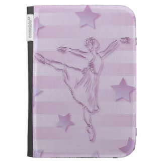 Cute pink lilac ballerina and stars kindle keyboard case