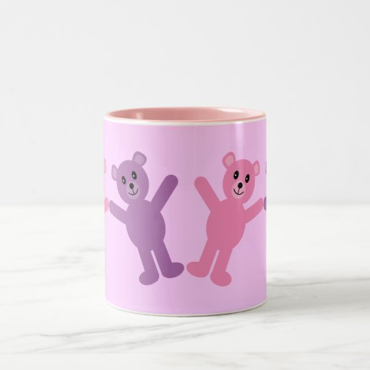 Cute Pink & Lilac Cartoon Teddy Bears Custom Two-Tone Coffee Mug