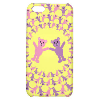 Cute Pink & Lilac Teddy Bears Customizable Yellow iPhone 5C Cases