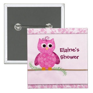 Cute Pink Little Owl 2 Inch Square Button