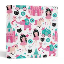 Cute Pink Little Princess Unicorn Magical Pattern 3 Ring Binder