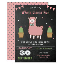 Cute Pink Llama Kids Birthday Party Invitation