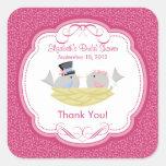 Cute Pink Love Birds Bridal Shower Square Sticker!