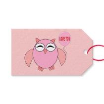 Cute Pink Love You Owl Custom Gift Tags