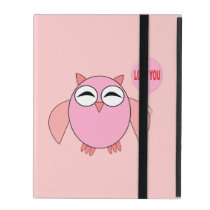 Cute Pink Love You Owl iPad Case