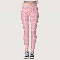 Cute Pink Love You Owl Leggings