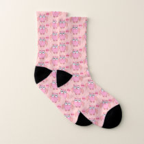Cute Pink Love You Owl Patterned Socks