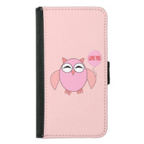 Cute Pink Love You Owl Samsung Wallet Case