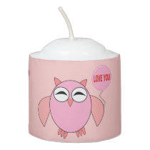 Cute Pink Love You Owl Votive Candle