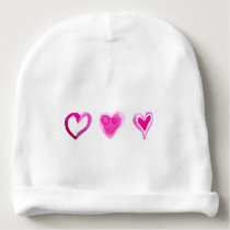 Cute Pink Lovely Hearts Pattern Baby Beanie