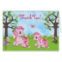 Cute Pink Mare and Filly Horse Thank You Card