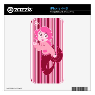 Cute Pink Mermaid Girl Decals For The iPhone 4
