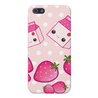 Cute pink milk carton with kawaii strawberries cover for iPhone SE/5/5s