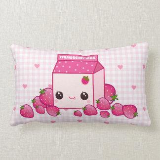 Cute pink milk carton with kawaii strawberries lumbar pillow