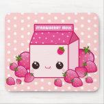 Cute pink milk carton with kawaii strawberries mouse pad