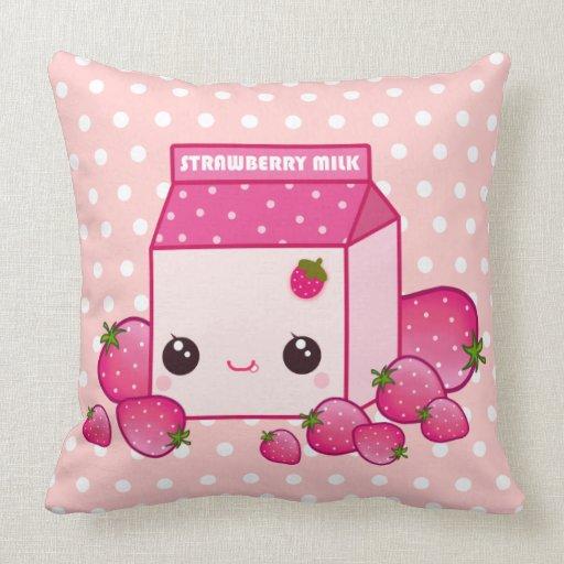 Cute Pink Milk Carton With Kawaii Strawberries Throw Pillow Zazzle