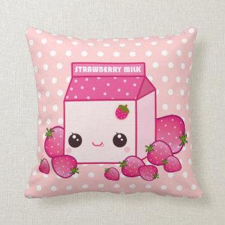 Cute pink milk carton with kawaii strawberries throw pillow