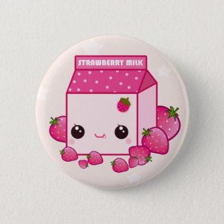 Cute pink milk carton with kawaii strawberries pinback button