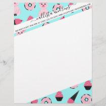 Cute Pink Mint Piggy Donut Ice Cream Cone Pattern Letterhead