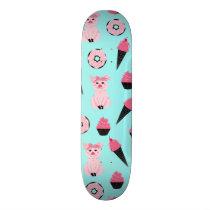 Cute Pink Mint Piggy Donut Ice Cream Cone Pattern Skateboard